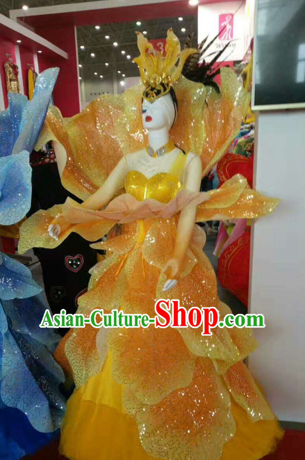 Yellow Chinese Classical Flower Dance Costume Dancing Costumes and Headpieces Complete Set for Women