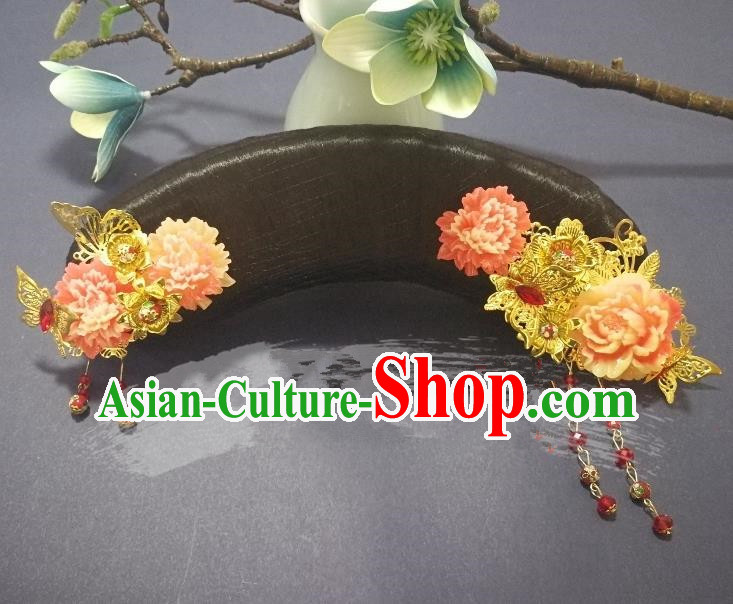 Chinese Handmade Classical Qing Dynasty Princess Wig and Hair Accessories Ancient Manchu Palace Lady Headwear