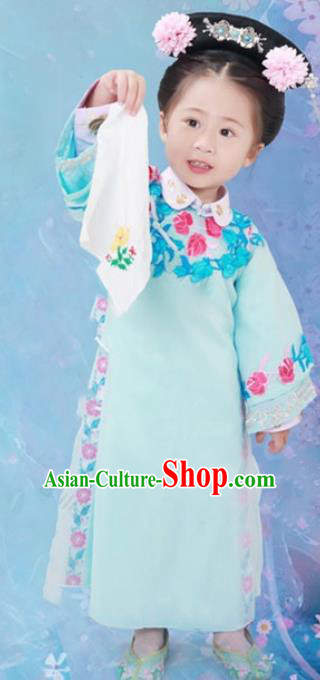 Traditional Chinese Qing Dynasty Princess Manchu Nobility Lady Costume and Headwear for Kids