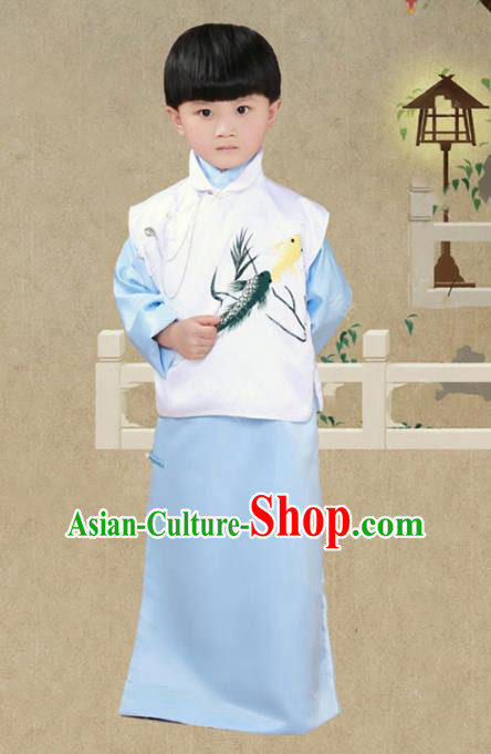 Traditional Chinese Republic of China Nobility Childe Costume Long Robe for Kids