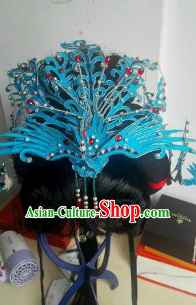 Traditional Handmade Chinese Beijing Opera Hair Accessories Phoenix Coronet Hairpins and Wig for Women