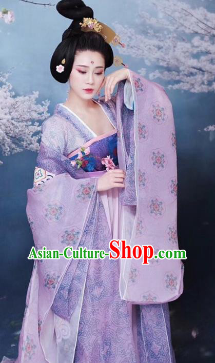 Chinese Traditional Tang Dynasty Imperial Consort Clothing, China Ancient Palace Lady Dance Costume for Women