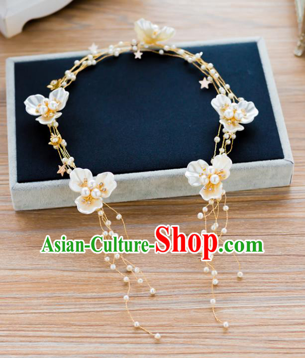 Handmade Classical Wedding Hair Accessories Bride Shell Flowers Hair Clasp Headband for Women