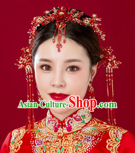 Chinese Handmade Classical Wedding Hair Accessories Ancient Red Beads Tassel Hairpins Headdress for Women