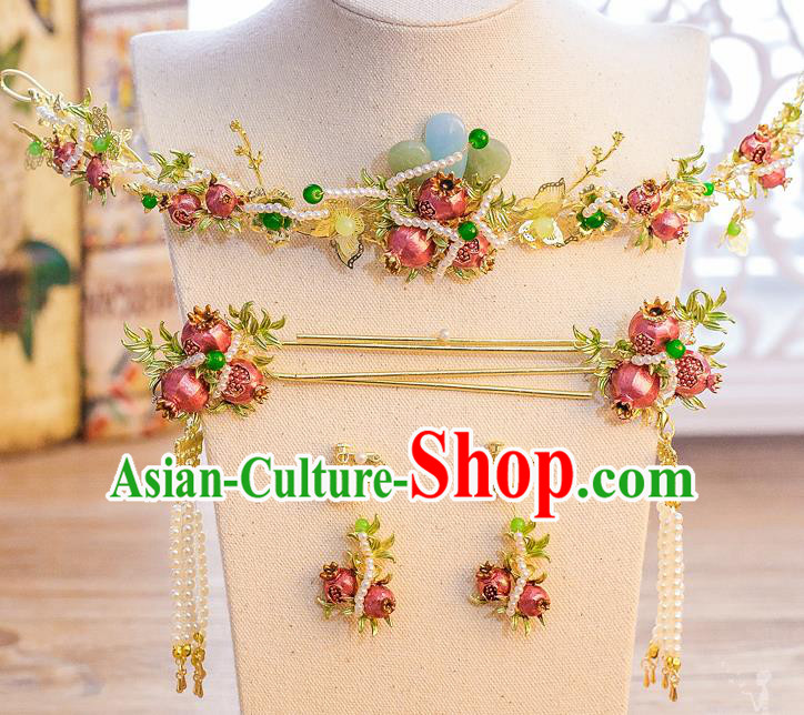 Chinese Handmade Classical Hair Accessories Ancient Bride Pomegranate Hair Clasp Tassel Hairpins for Women