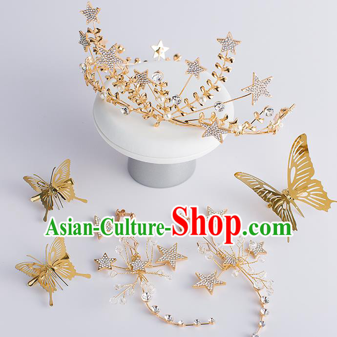 Handmade Classical Hair Accessories Baroque Bride Golden Butterfly Royal Crown Hair Stick Headwear for Women