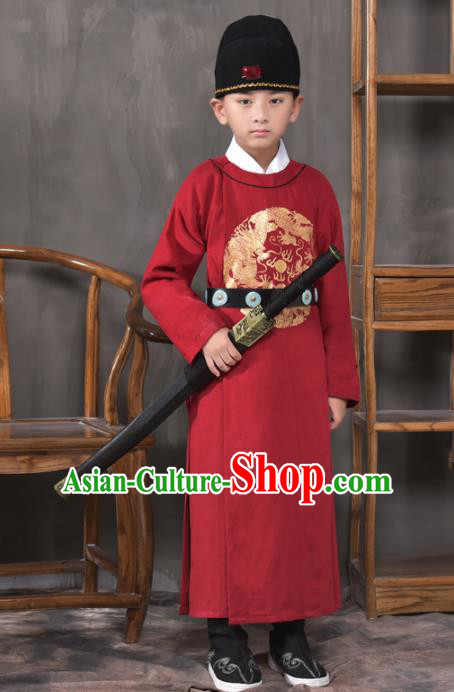 Traditional China Tang Dynasty Imperial Bodyguard Costume, Chinese Ancient Swordsman Red Clothing for Kids