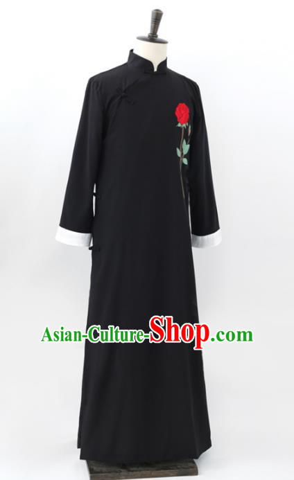 Traditional Republic of China Nobility Childe Costume, Chinese Cross Talke Clothing Black Long Robe for Men
