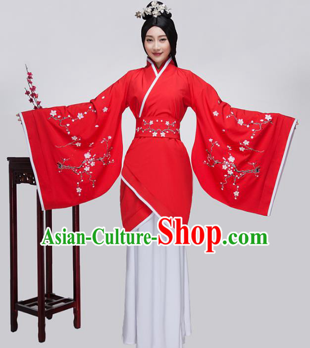 Traditional China Han Dynasty Ancient Princess Wedding Costume Embroidered Red Curving-front Robe for Women
