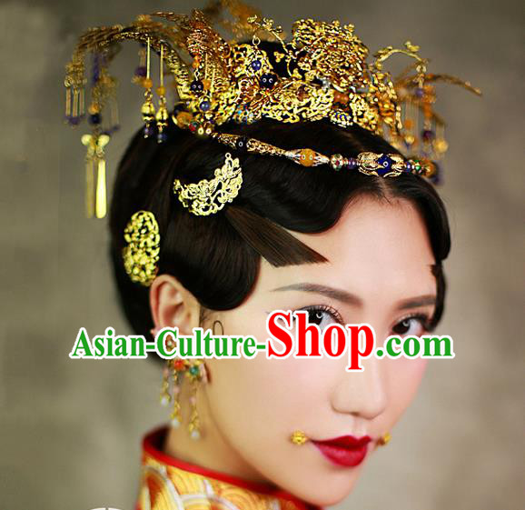 Chinese Handmade Classical Hair Accessories Wedding Bride Tassel Hairpins Phoenix Coronet Complete Set