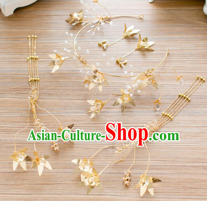 Handmade Classical Wedding Hair Accessories Bride Golden Hair Clasp Headwear Complete Set for Women