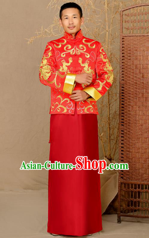 Ancient Chinese Wedding Costume Ancient Groom Toast Clothing Mandarin Jacket for Men