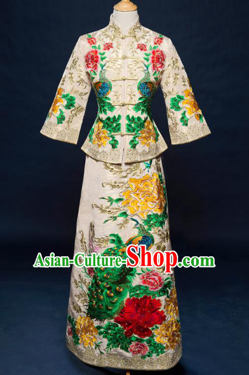 Traditional Chinese Wedding Costume Ancient Bride White Toast Cheongsam Embroidered Xiuhe Suits for Women