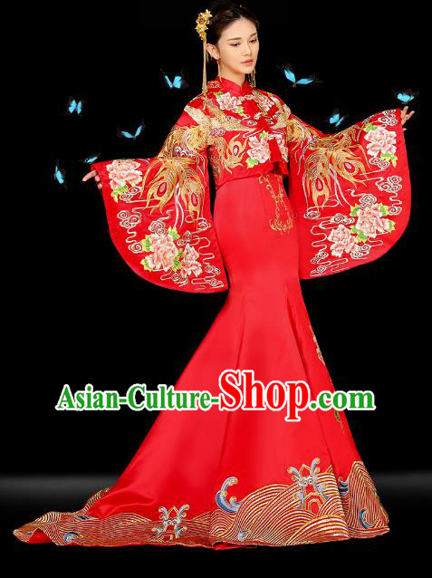 Traditional Ancient Chinese Wedding Costume Bride Embroidered Trailing Cheongsam Xiuhe Suits for Women