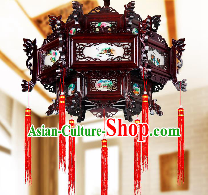 Traditional Chinese Painted Wood Palace Lanterns Handmade Lotus Hanging Lantern Ancient Ceiling Lamp