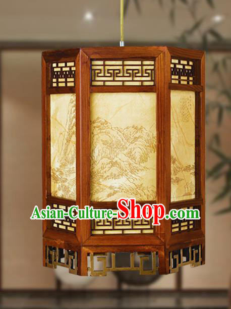 Traditional Chinese Landscape Painting Palace Lanterns Handmade Wood Hanging Lantern Ancient Ceiling Lamp