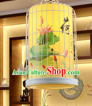 Traditional Chinese Painted Lotus Hanging Palace Lanterns Handmade Birdcage Lantern Ancient Ceiling Lamp