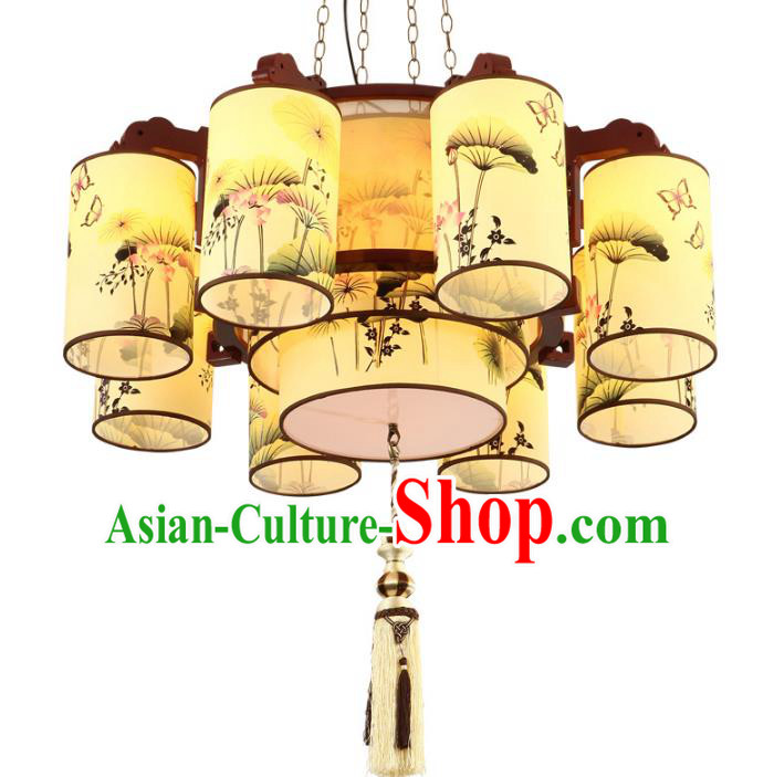Traditional Chinese Painting Lotus Palace Lanterns Handmade Eight-Lights Lantern Ancient Ceiling Lamp