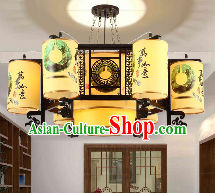 Traditional Chinese Painting Palace Lanterns Handmade Six-Lights Lantern Ancient Ceiling Lamp