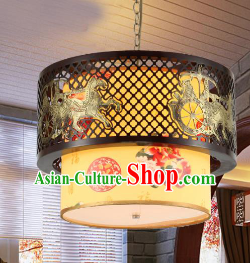 Traditional Chinese Painting Peony Ceiling Palace Lanterns Handmade Wood Hanging Lantern Ancient Lamp