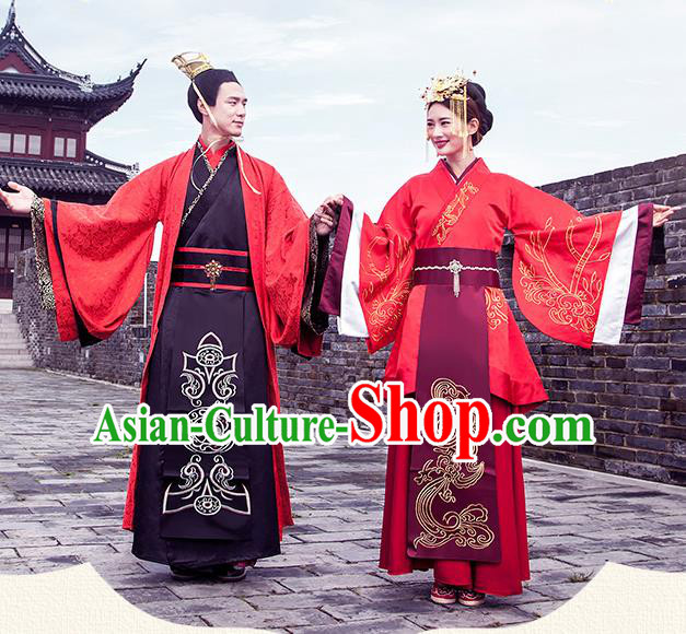 Ancient Chinese Han Dynasty Palace Bride and Bridegroom Embroidered Wedding Costume Complete Set