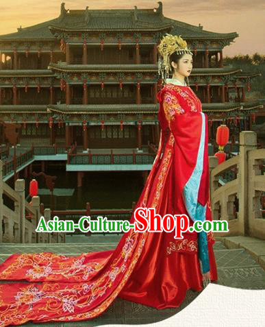 Chinese Han Dynasty Bride Embroidered Wedding Costume Ancient Palace Princess Dress for Women