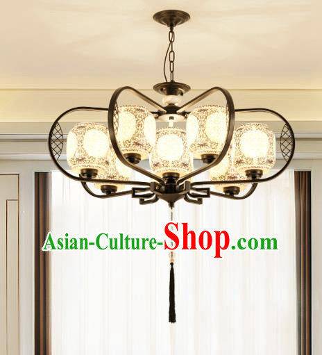 Traditional Chinese Hanging Ceiling Lanterns Ancient Handmade Eight-Lights Lantern Ancient Lamp