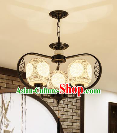 Traditional Chinese Hanging Ceiling Lanterns Ancient Handmade Three-Lights Lantern Ancient Lamp