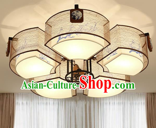 Traditional Chinese Petal Ceiling Lanterns Ancient Handmade Painting Plum Blossom Lantern Ancient Lamp
