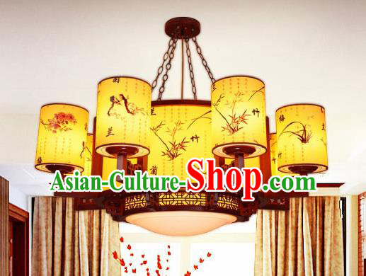 Traditional Chinese Painted Ceiling Lanterns Handmade Wood Palace Lantern Ancient Lamp