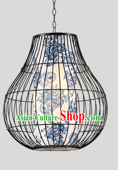 Traditional Chinese Iron Painted Hanging Lanterns Ancient Handmade Lantern Ancient Lamp