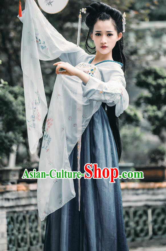 China Tang Dynasty Princess Dance Costume Ancient Palace Lady Embroidered Dress for Women