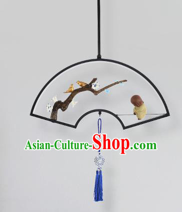 Traditional Chinese Fan Hanging Ceiling Lanterns Ancient Handmade Lantern Ancient Lamp