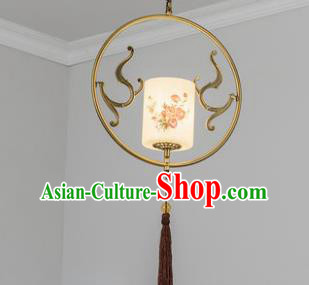 Traditional Chinese Ceiling Lanterns Ancient Handmade Painting Rose Hanging Lantern Ancient Lamp