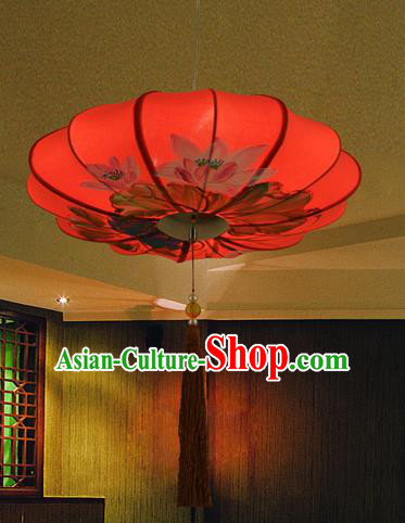 Traditional Chinese Painting Lotus Red Hanging Lanterns Ancient Handmade Ceiling Lantern Ancient Lamp