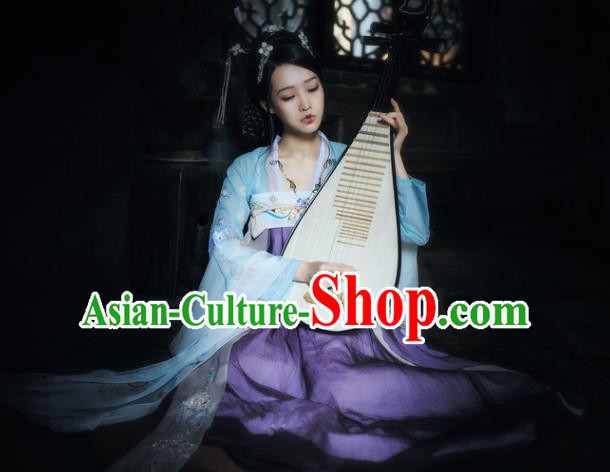 China Ancient Fairy Dance Dress Tang Dynasty Palace Lady Embroidered Costume for Women