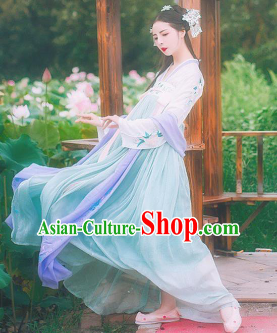 Chinese Tang Dynasty Nobility Lady Embroidered Dress Ancient Princess Costume for Women