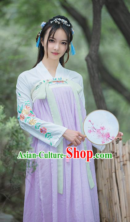 Chinese Tang Dynasty Young Lady Embroidered Dress Ancient Palace Princess Costume for Women