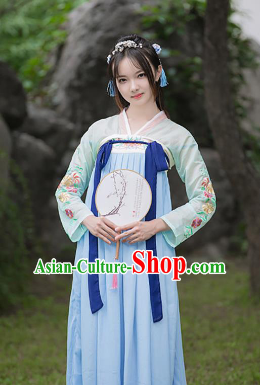 Chinese Ancient Palace Lady Dress Traditional Tang Dynasty Princess Hanfu Embroidered Costume for Women