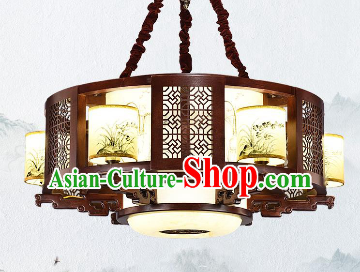 Traditional Chinese Wood Palace Lantern Handmade Painting Orchid Ceiling Lanterns Ancient Lamp
