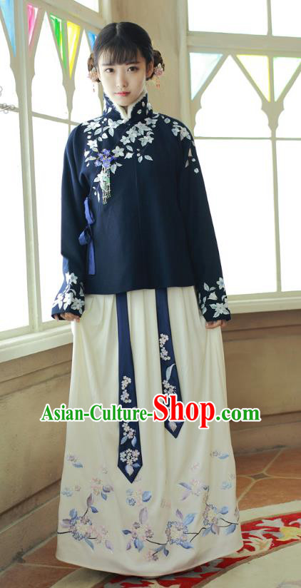 Chinese Ancient Ming Dynasty Palace Lady Hanfu Embroidered Costume for Women
