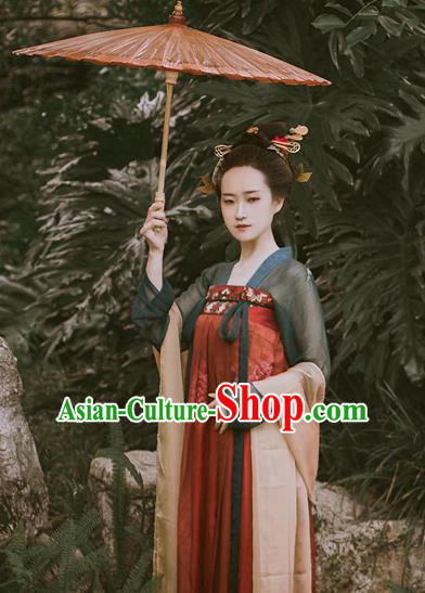 Chinese Ancient Tang Dynasty Imperial Concubine Embroidered Dress Costume for Women