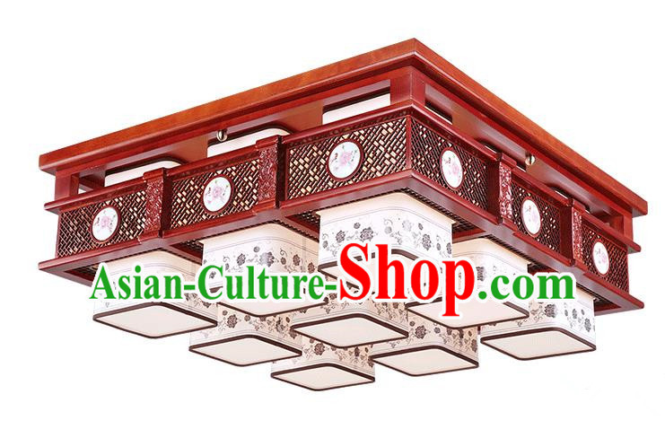 Traditional Chinese Hanging Palace Lantern Handmade Painting Peony Ceiling Lanterns Ancient Nine-Lights Lamp