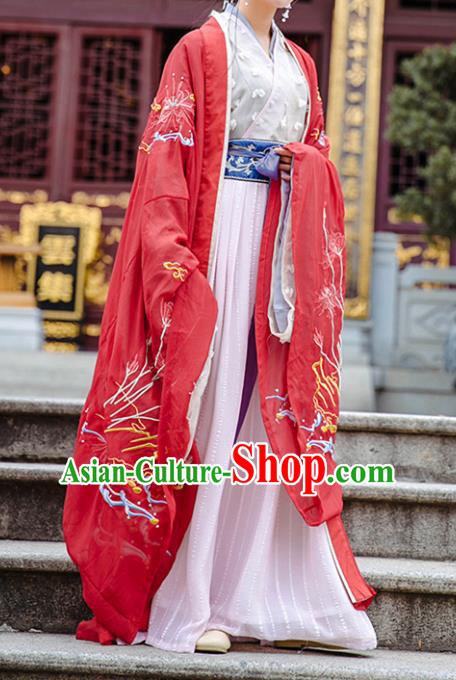 Ancient Chinese Han Dynasty Imperial Empress Embroidered Cloak Costume for Women