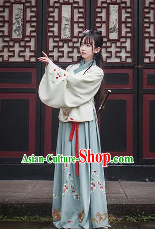 Ancient Traditional Chinese Ming Dynasty Princess Costume Embroidered Blouse and Skirt for Women