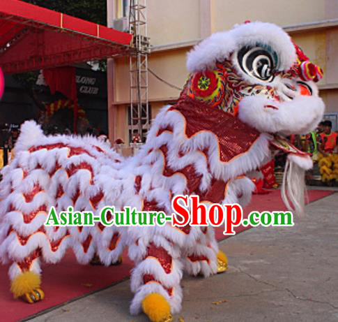 Chinese Traditional Parade White Wool Lion Head Professional Lion Dance Costumes Complete Set