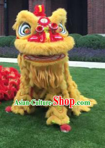 Chinese Traditional Parade Yellow Lion Head Professional Wool Lion Dance Costumes Complete Set