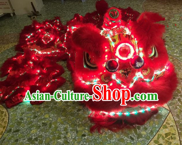 Top Grade Chinese Traditional LED Light Red Lion Head Professional Lion Dance Costumes Complete Set