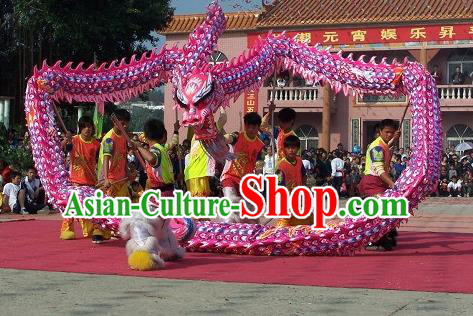 Chinese Professional Parade LED Lights Pink Dragon Dance Costumes Celebration Dragon Props Complete Set