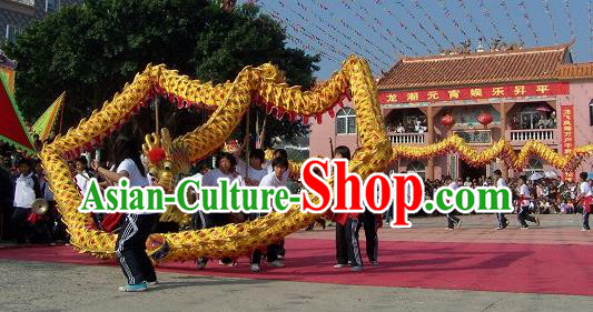 Chinese Professional Parade LED Lights Golden Dragon Dance Costumes Celebration Dragon Props Complete Set